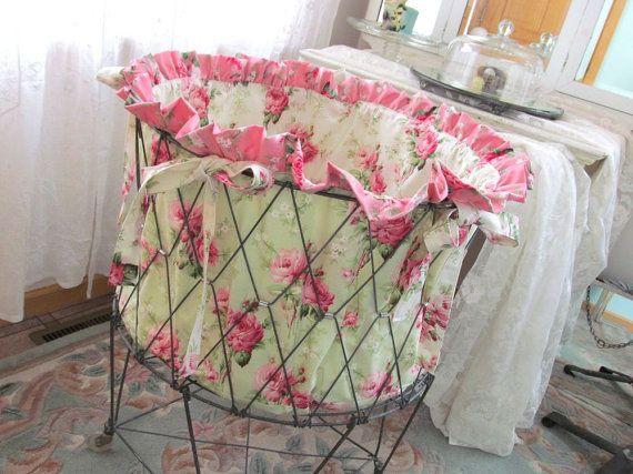 Vintage Wire Laundry Cart Basket