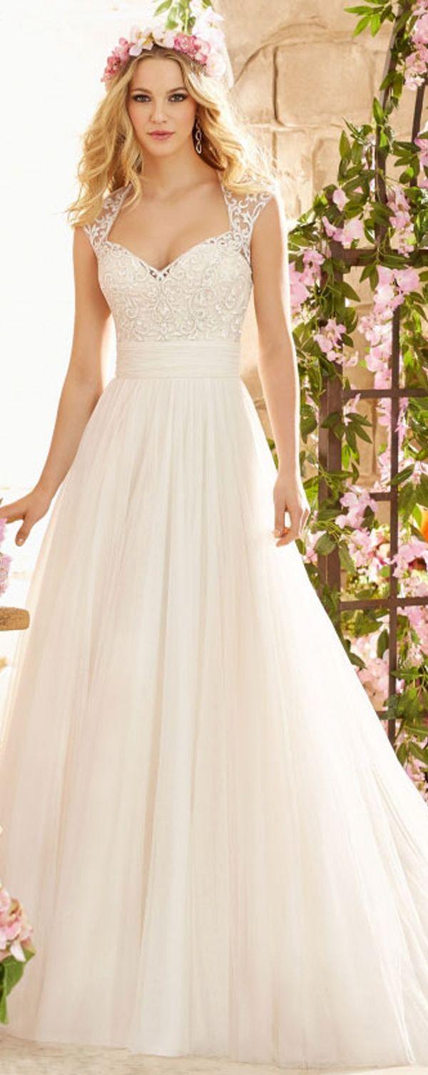 Wedding decorations traditional october 2018 Stunning Tulle Queen Anne Neckline Aline Wedding Dress With