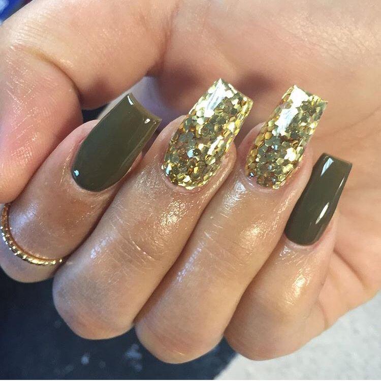 olive green & gold | Nails | Pinterest | Gold, Natural nails and ...