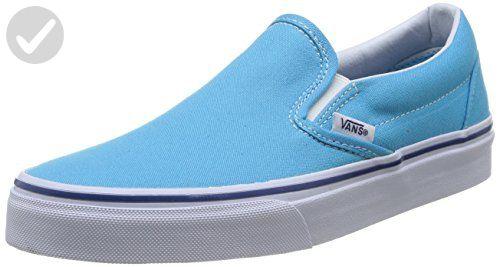 60179af34c Vans Unisex Classic Slip-On Cyan Blue True White Skate Shoe 4.5 Men US   6  Women US - Mens world ( Amazon Partner-Link)