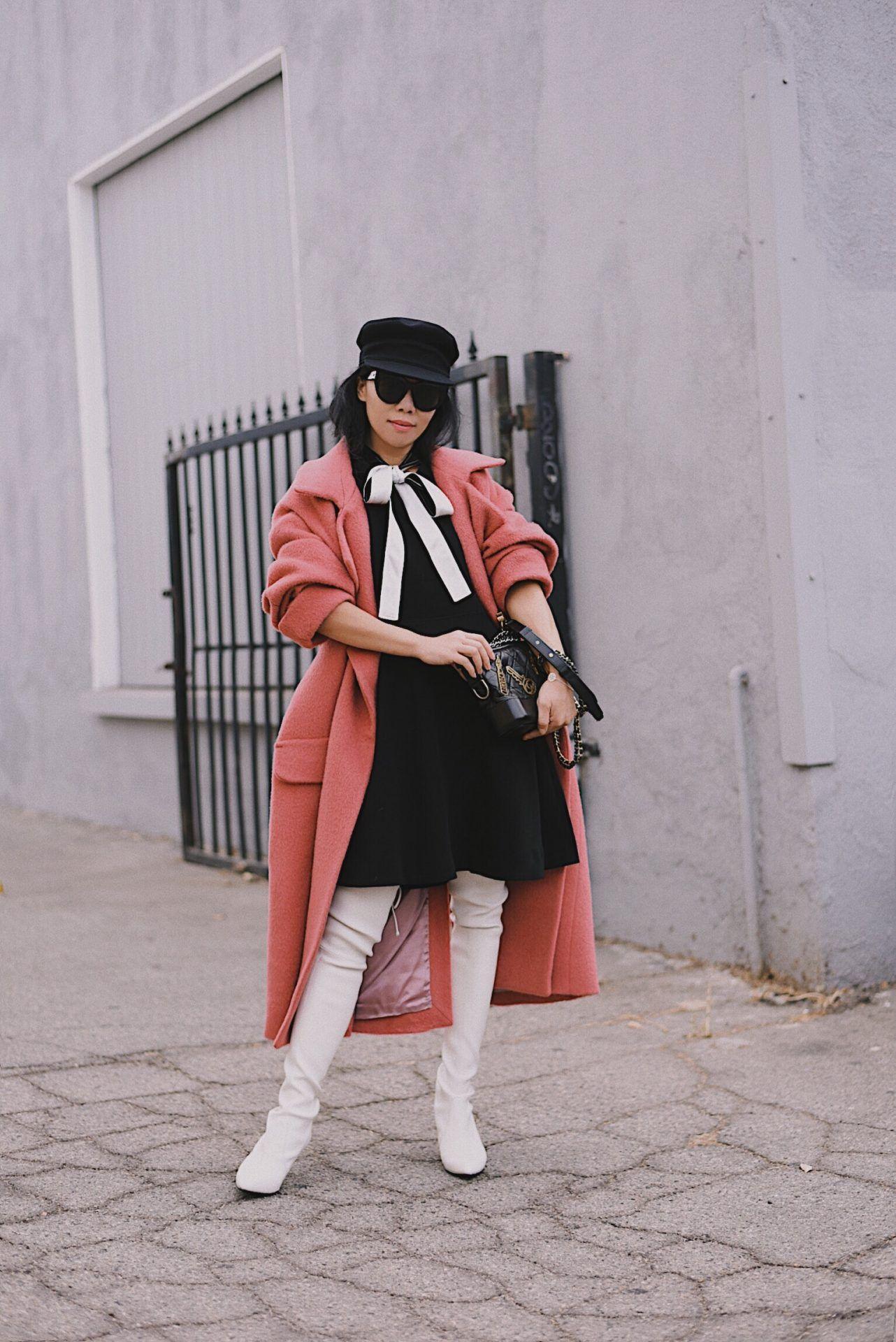 6ecc19cc7f9 SW Tiemodel OTK Boots   Rose Pink Oversized Coat