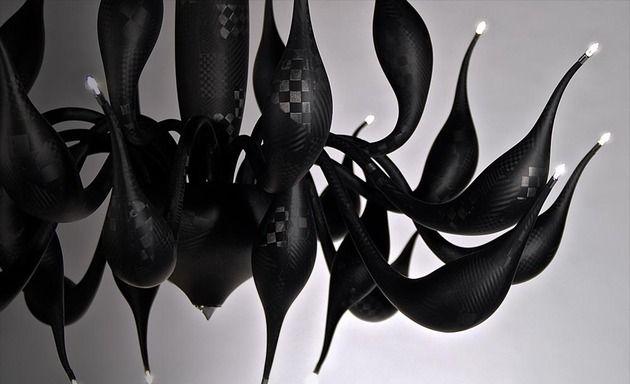 Lu Murano Kronleuchter ~ Kronleuchter schwarz modern kohlenfasern funkelnde spitzen lu