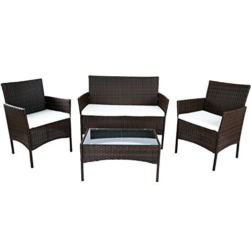 Merax 4 PC Outdoor Garden Rattan Patio Furniture Set Cush... Https:/