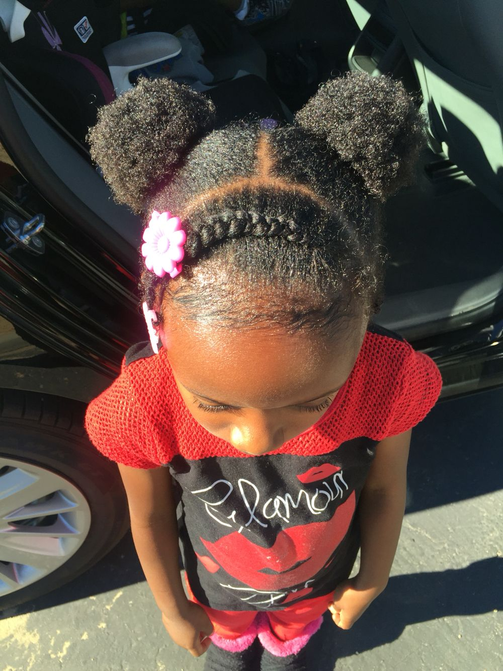 Natural African American Black Hair Style For Young Girl Short