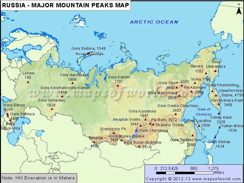 Russia Major MountainPeaks Map Thematic Maps Pinterest