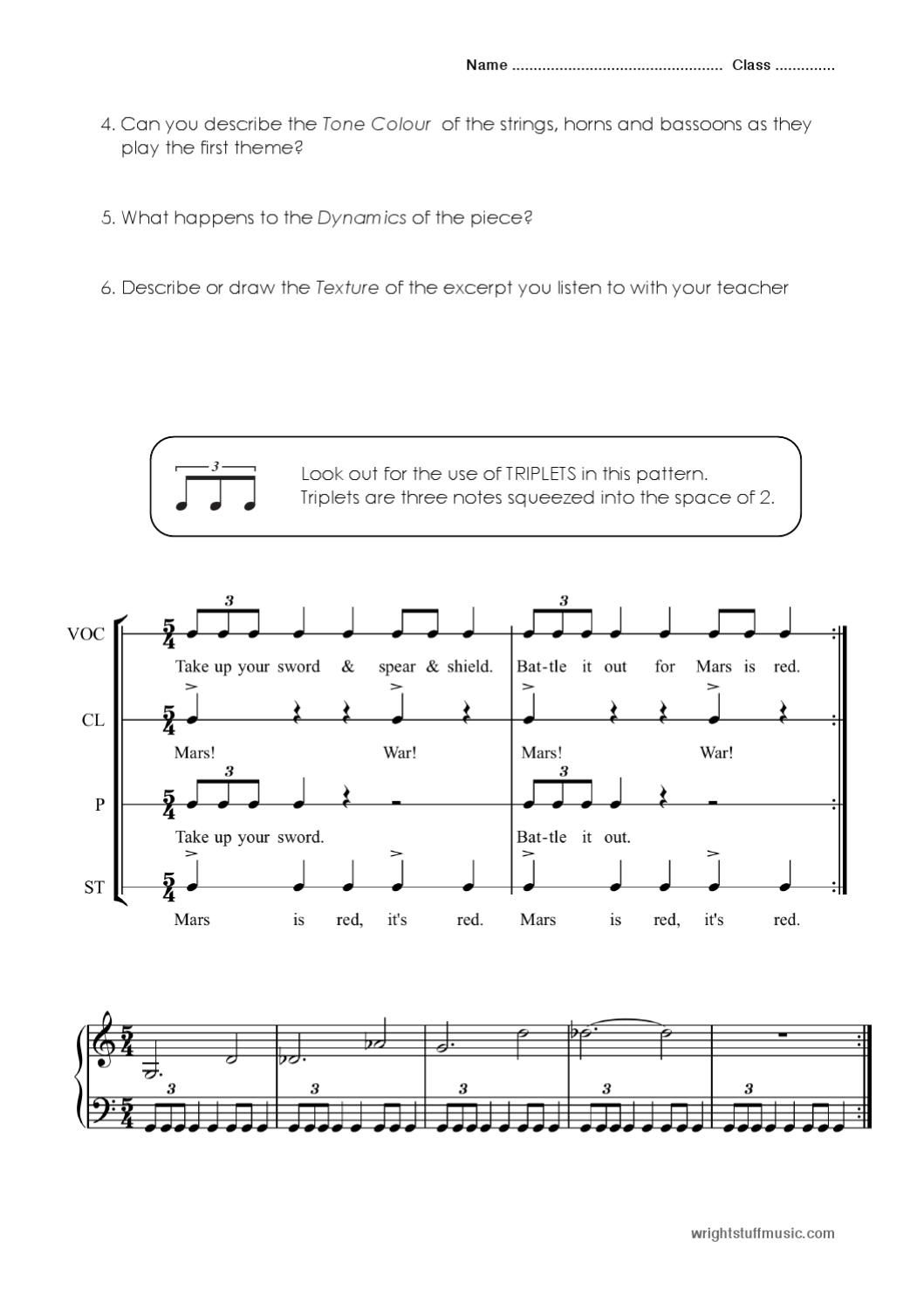Holst S Mars Amp Jupiter Worksheet