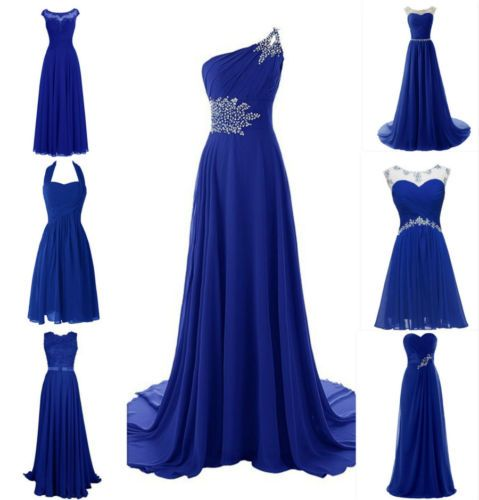 Royal blue lace chiffon bridesmaid wedding evening plus for Royal blue short wedding dresses