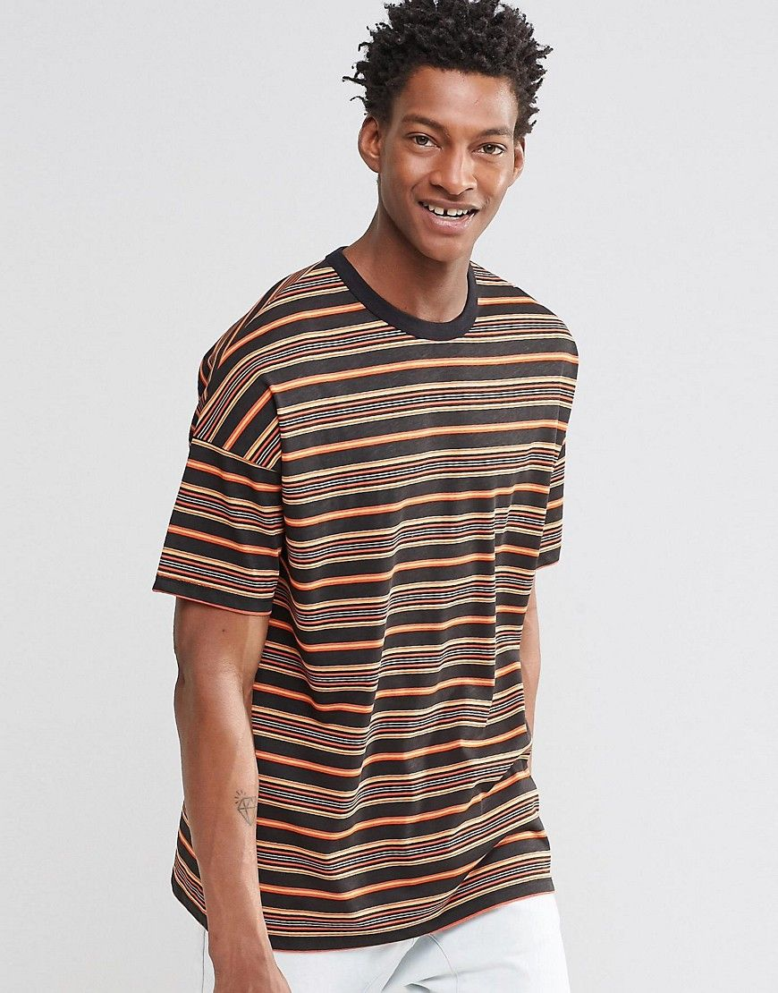 ASOS Oversized T-Shirt In Retro Stripe at asos.com
