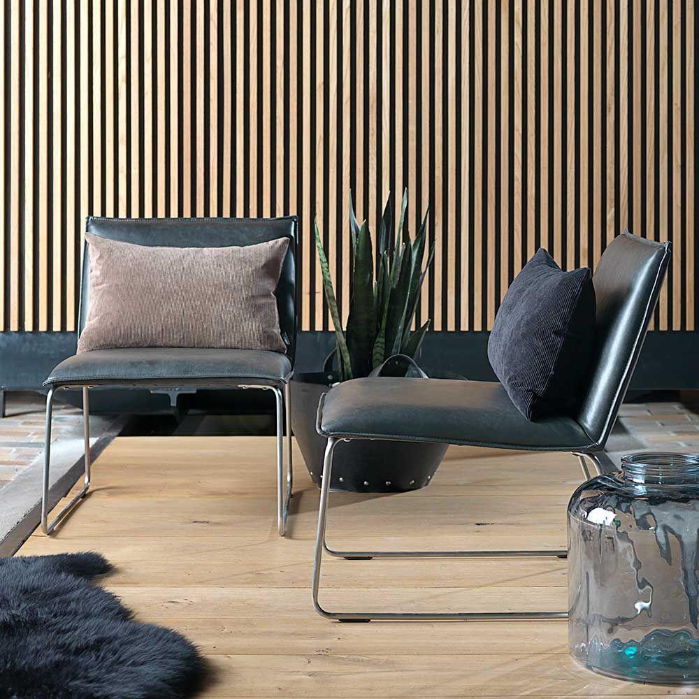 Lounge Stuhl in Schwarz Kunstleder Stahl verchromt Jetzt bestellen ...