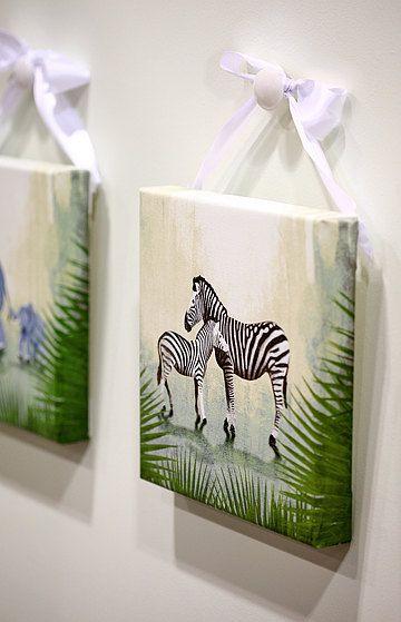 10x10 Girls Bedroom: Jungle Safari Striped Zebra Family Animal 10x10 Giclee