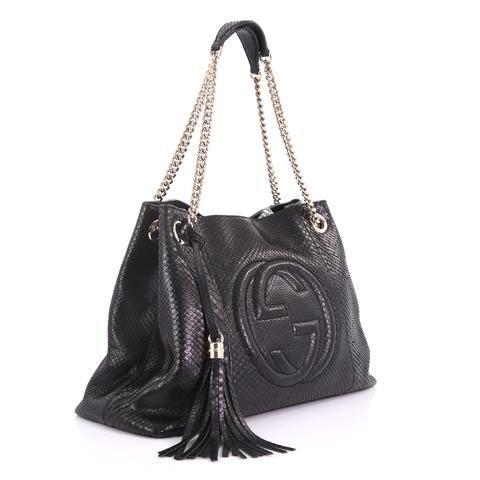97874579153 Buy Gucci Soho Chain Strap Shoulder Bag Python Medium Black 3782956 – Rebag