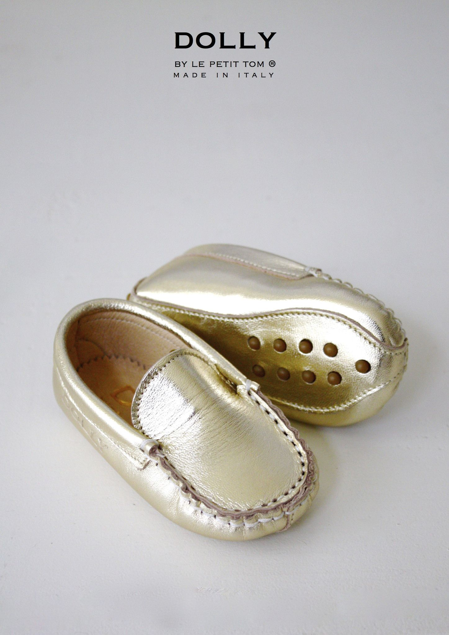 DOLLY by Le Petit Tom ® BABY MOCCASIN 11MO gold