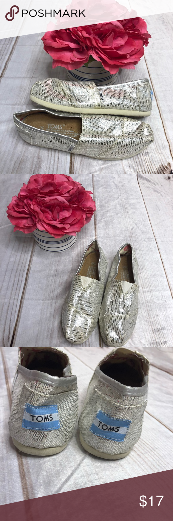 """573a826a11f Toms Classic Slip Ons Size 5 Silver""""Glitter"""" The classic Toms slip on  sneakers!! Silver """"glittery"""" goes great with any outfit!! Worn but with  lots of life ..."""