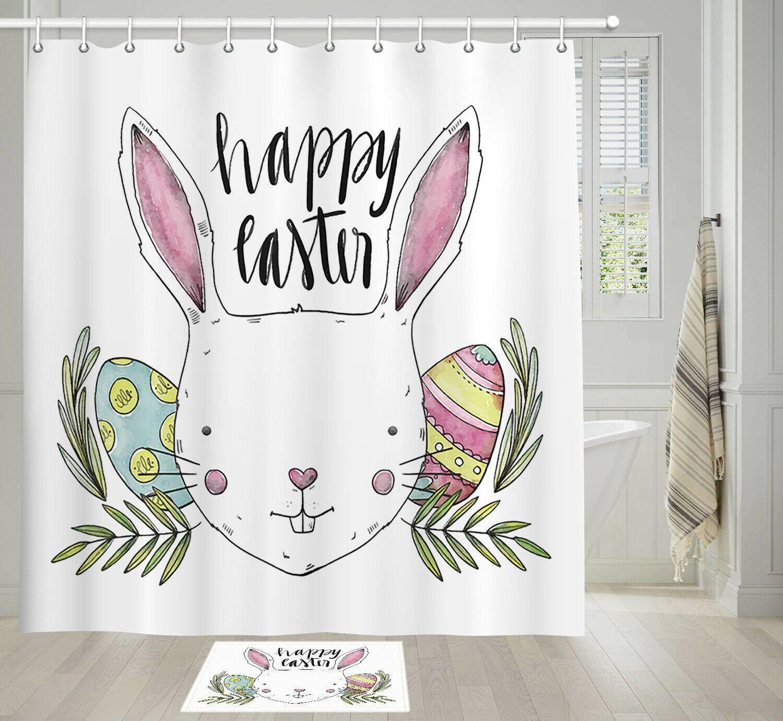 Cartoon Easter Bunny Shower Curtain Bathroom Decor Fabric