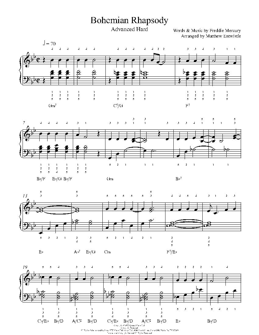 Bohemian Rhapsody By Queen Piano Sheet Music Advanced Level