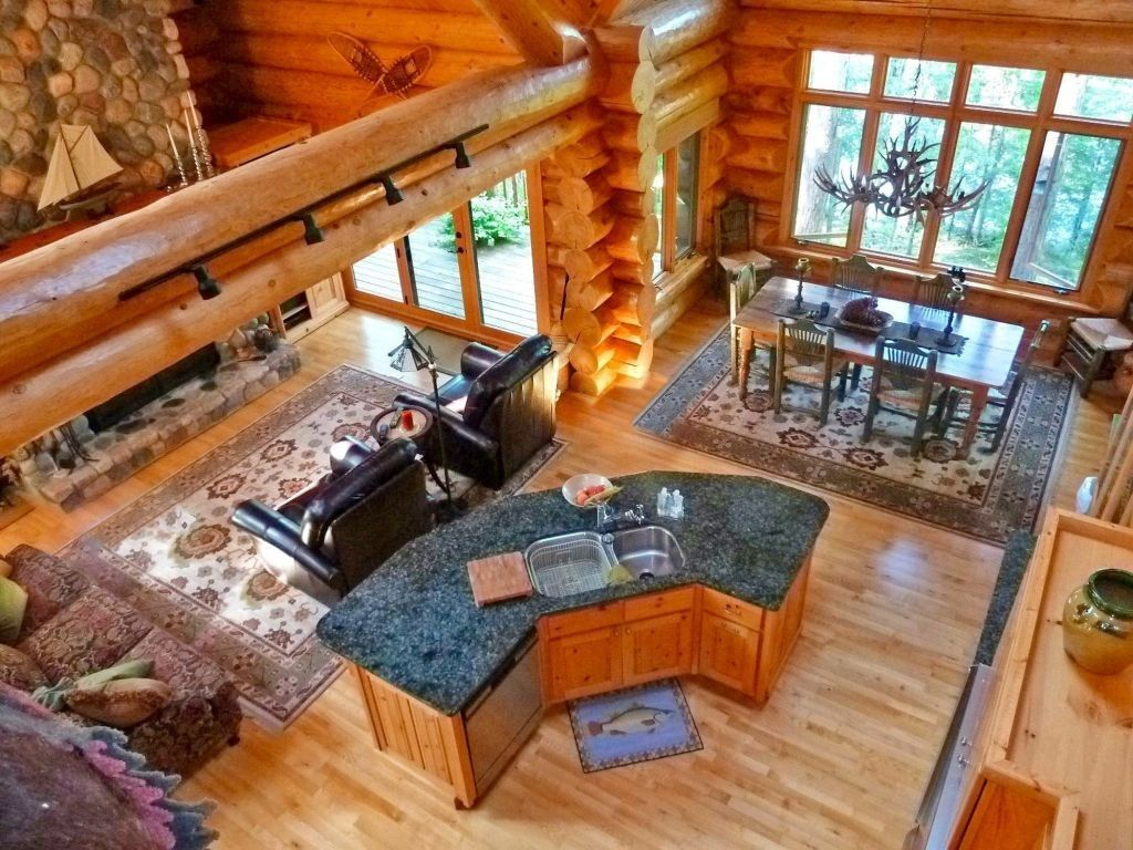 Log Cabin Homes With Open Floor Plans Log Cabin Homes Log Cabin Kitchens Log Home Plans