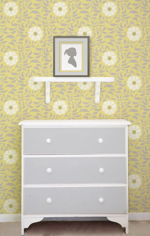 Pretty flower wall stencil pattern in grey and cream on yellow ...