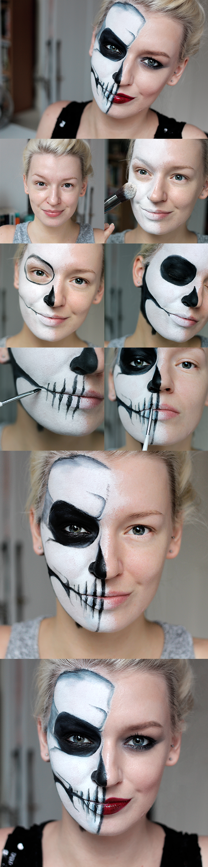 Totenkopf Schminken Anleitung Halbes Gesicht Halloween Simple Half Skull Glam Make Up Tutorial By Zoe