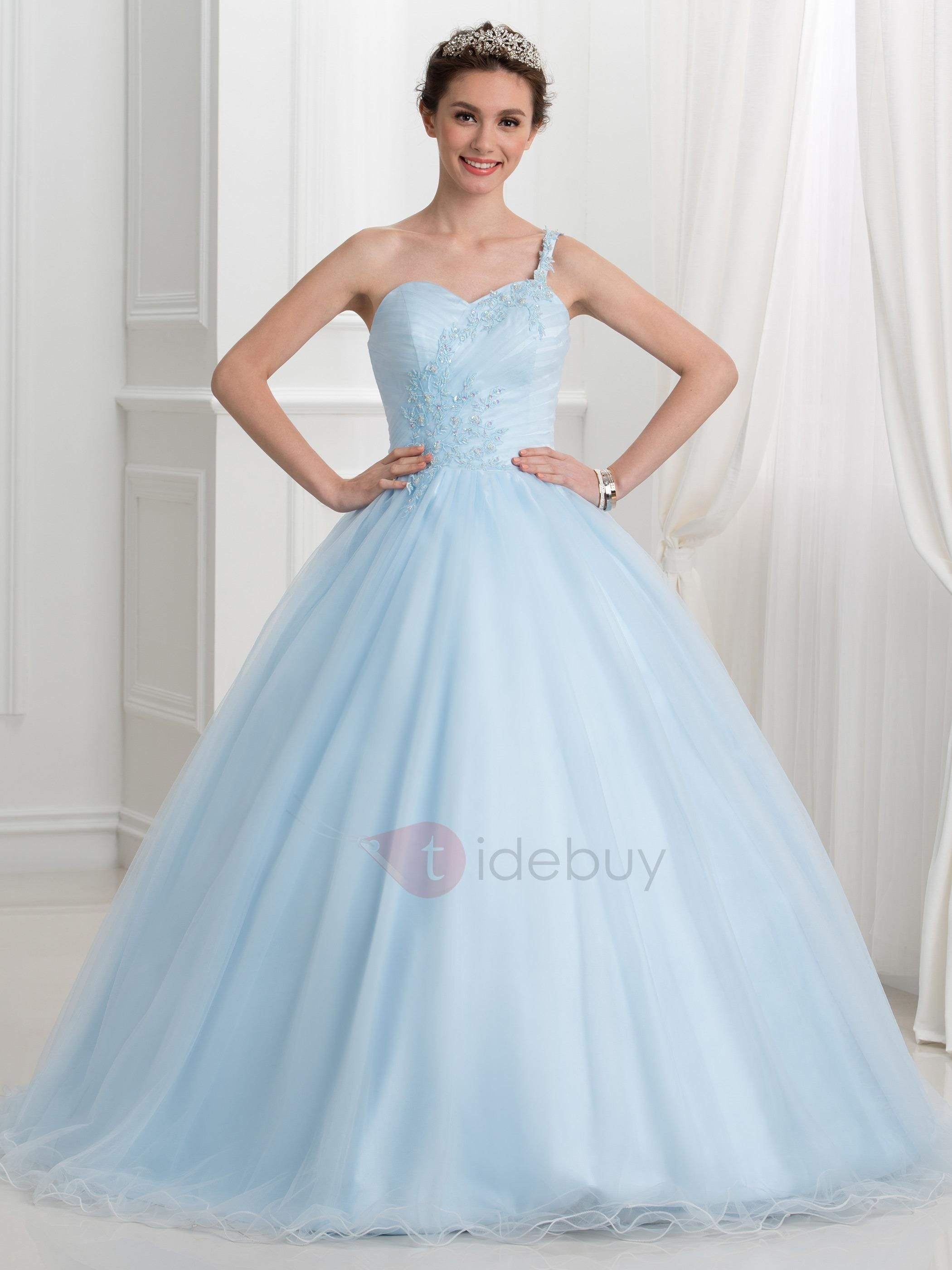 TideBuy - #TideBuy Fancy One Shoulder Appliques Beading Ball Gown ...