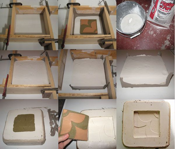 Making A Plaster Mold Of An Art Tile Handmade Tiles Pottery Molds Clay Ceramics