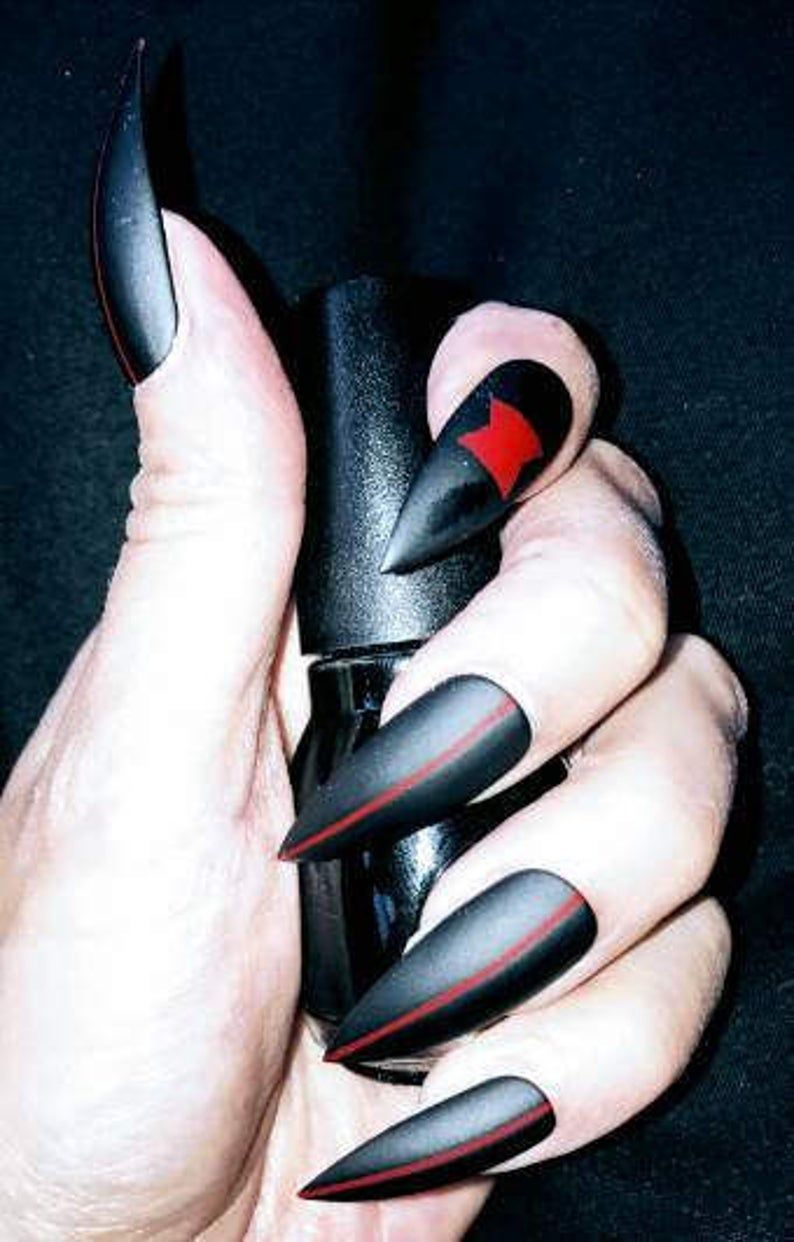 Gothic Black Widow Stiletto Nails Matte or Glossy Long or | Etsy