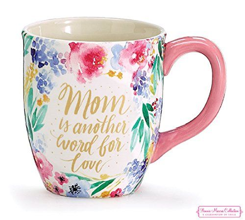 Coffee mug for mom, Spring Garden Flowers and Greenery Gold Accents