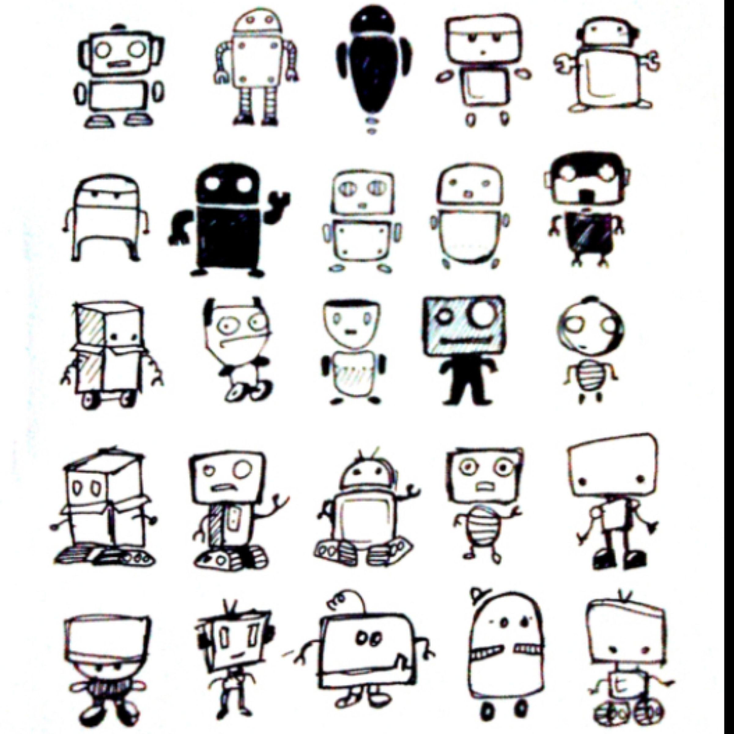 Cute Robot Sketches Illustrations Doodle Art Doodles Robots