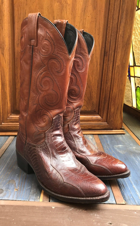 377a905b262 DAN POST Ostrich Leg Mens Leather Boots 8.5 D/ Brown Cognac Western ...