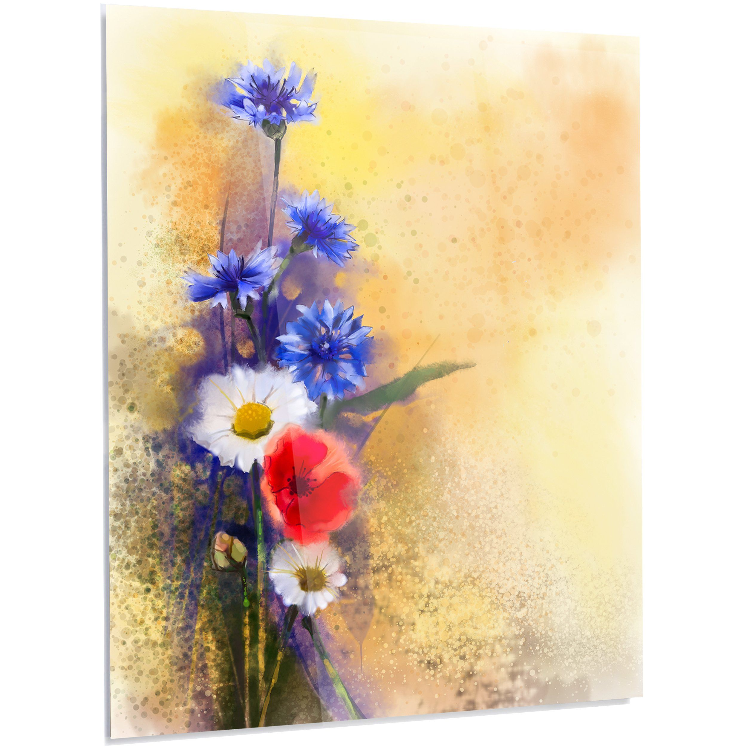 Design Art \'Bouquet of Poppy Cornflower and Daisy\' Painting Print on ...