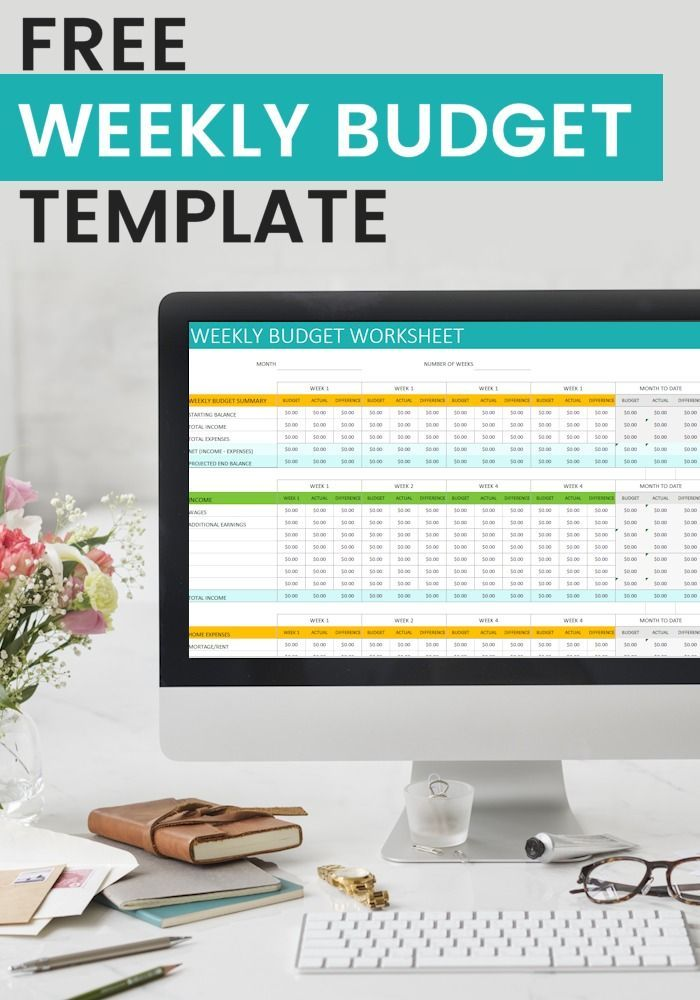 Free Personal Weekly Budget Template Finances in Your 20\u0027s