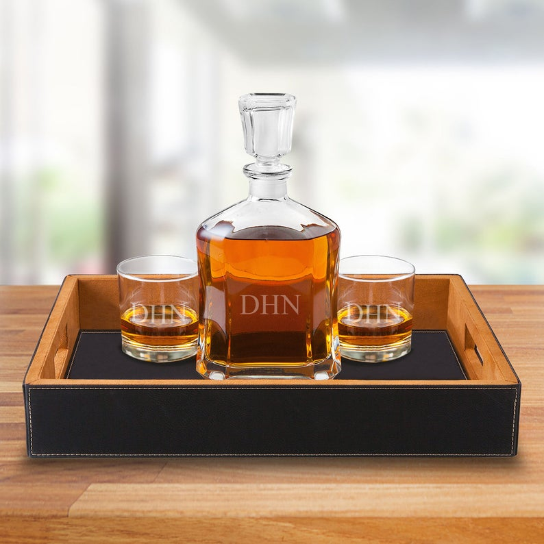Kitchen Dining Bar Personalized Bar Tray Set W Art Deco Style Whisky Decanter And 2 Scotch Glasses Netpackmdz Com Ar