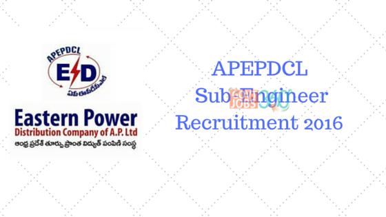 APEPDCL Sub-Engineer Recruitment 2016