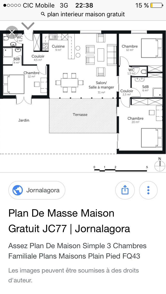 Pin by LISE SIMONELLI on Maisons Pinterest House - plan de maison en l de plain pied gratuit