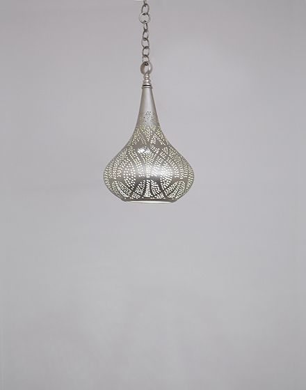 Small Silver Teardrop Pendant Light