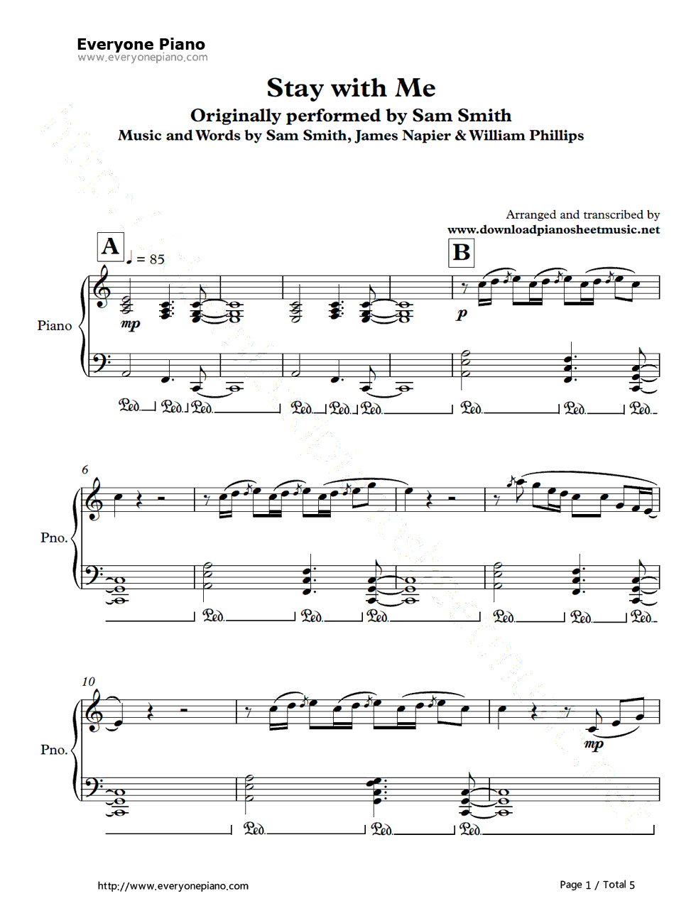Stay with me piano sheet music pdf