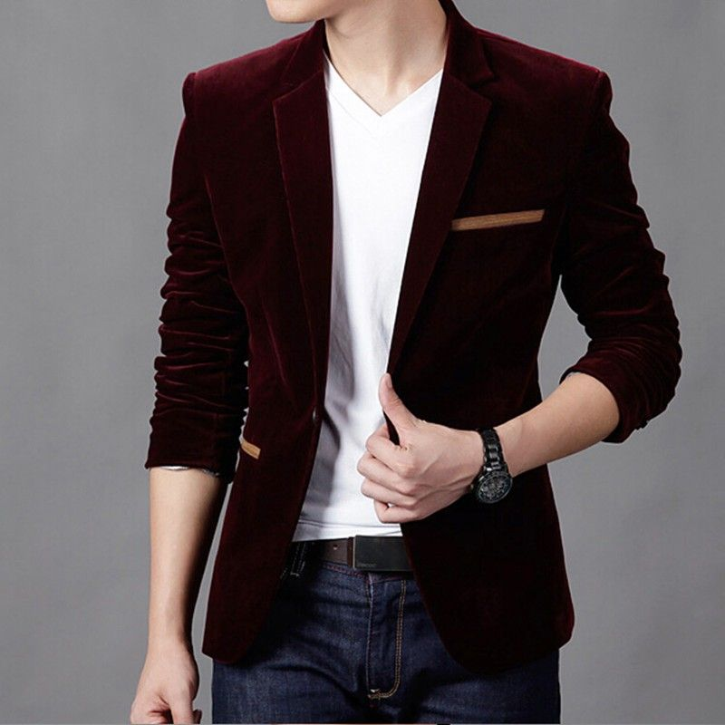 Mens Blazer Casual Suit Slim Single Button Corduroy | $ 48.94 ...