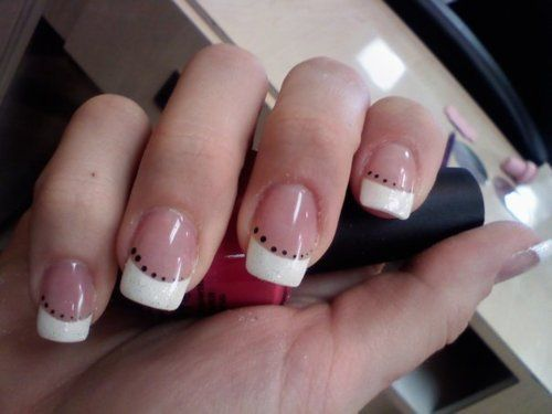 White French Tip Nail Designs Manicure Acry Acrylic Nails Art Design