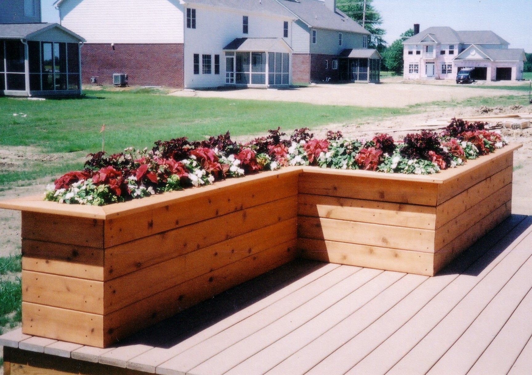 Deck planter box ideas decks by design of indiana for Deck garden box designs