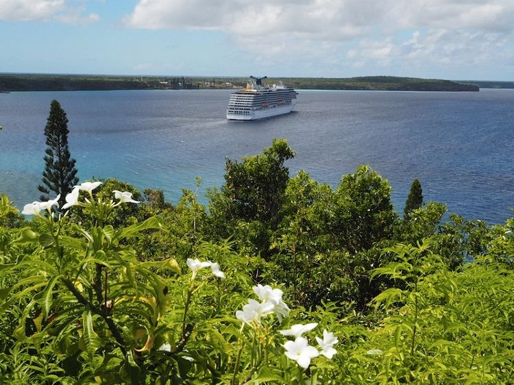 Carnival cruise ship sailing off the coast of New Caledonia