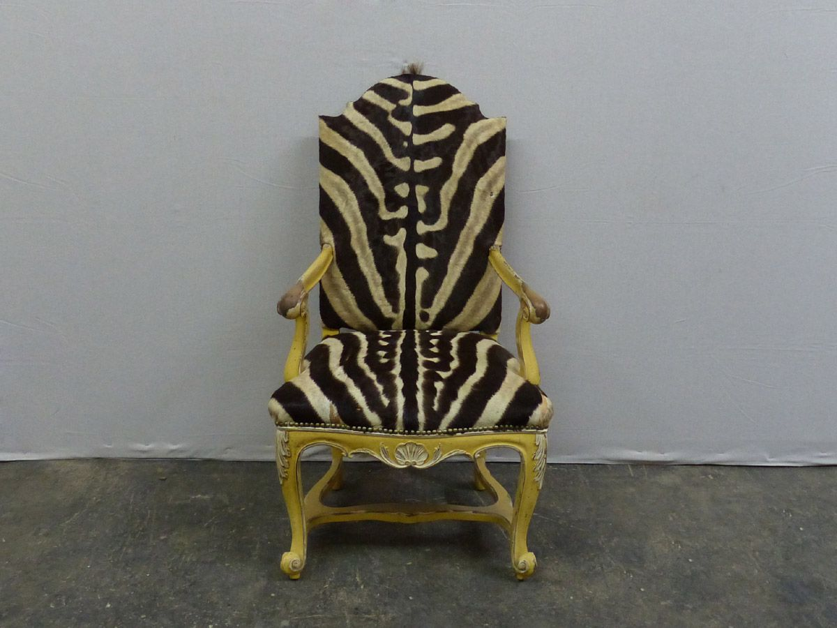 A European Early 20th Century Painted Wood Camelback Chair Upholstered in Zebra Skin. Original Paint.