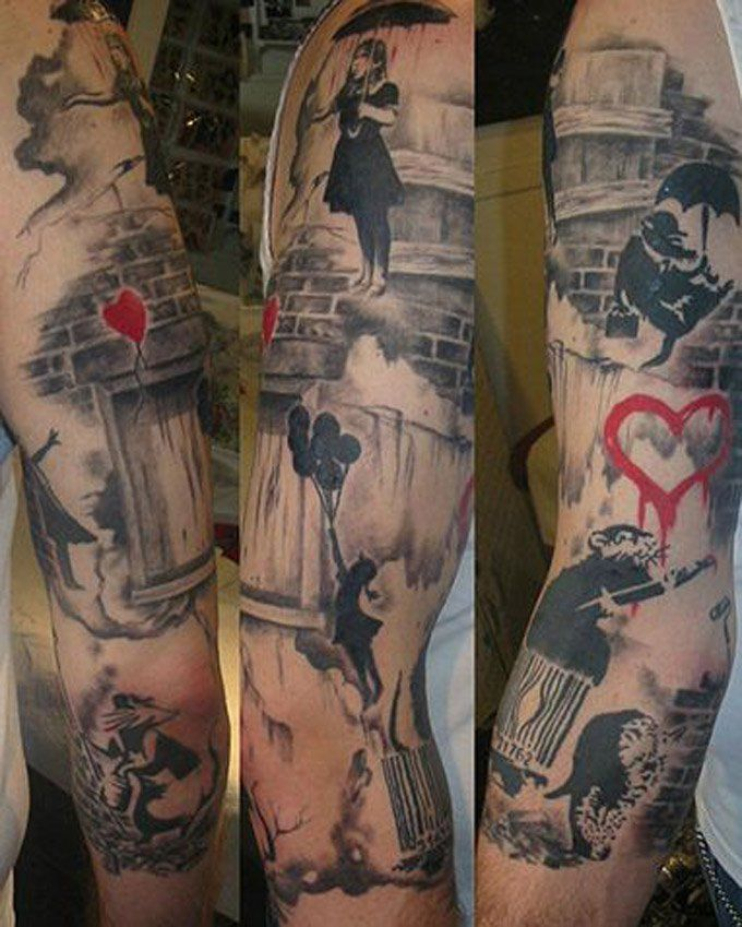 A full banksy sleeve please tell us who is the artist for Graffiti tattoos sleeves