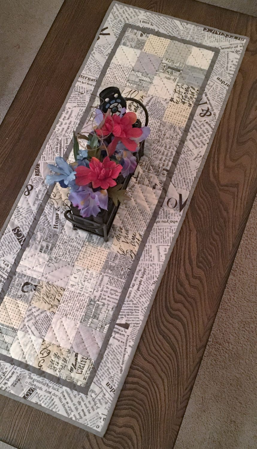 Beautiful INDUSTRIAL TABLE RUNNER, Newspaper Print, Quilt Top, Hand Quilted, Text,  Graphics, Vintage, Words, Kitchen Table Linens, Urban Decor