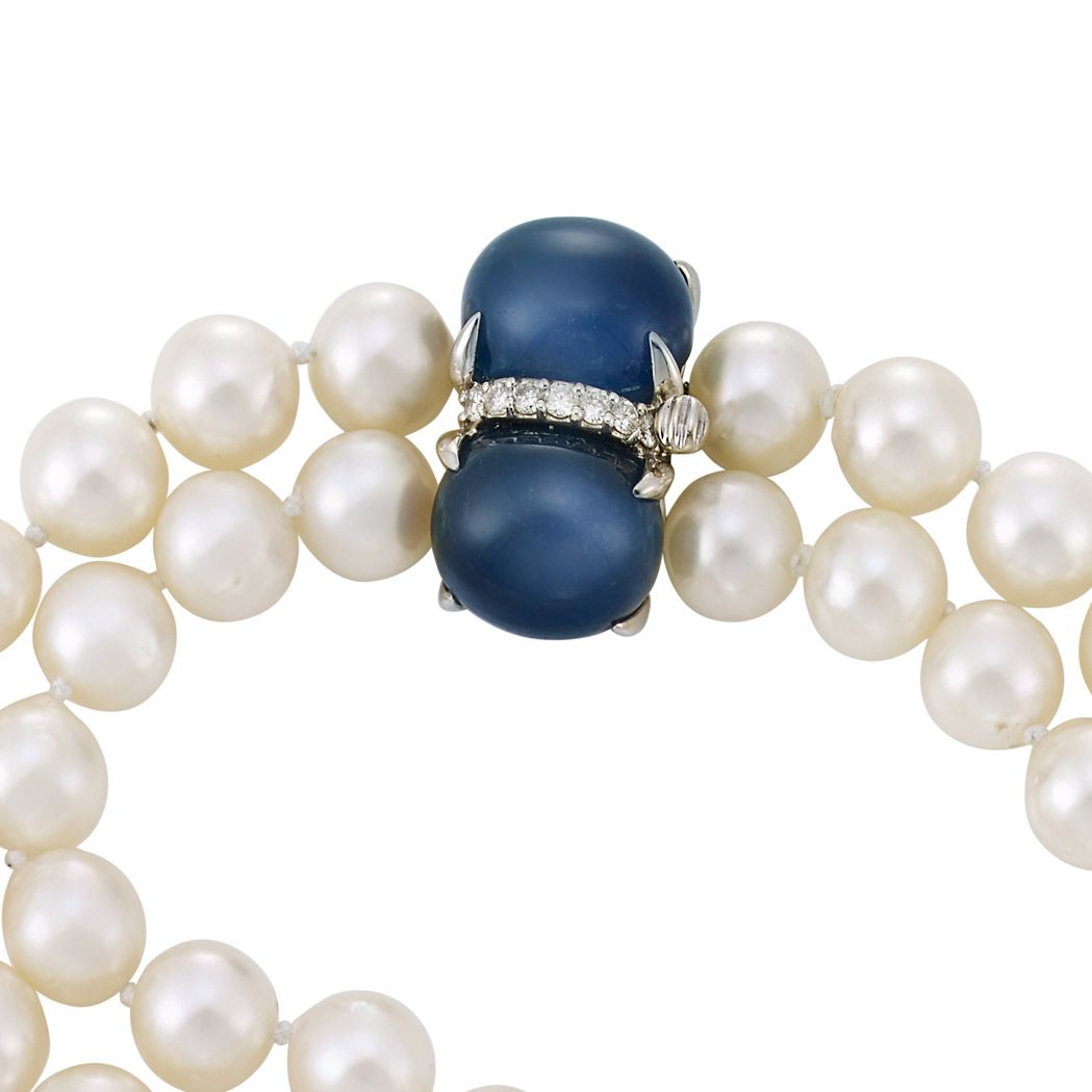 Double Strand Cultured Pearl Necklace With White Gold, Cabochon Sapphire  And Diamond Clasp, Seaman