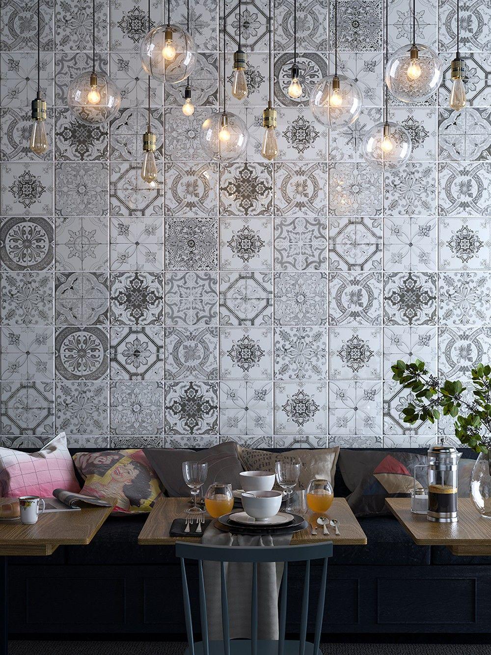 Nikea Sephia 20x20cm porcelain tile influenced by intricate hand ...