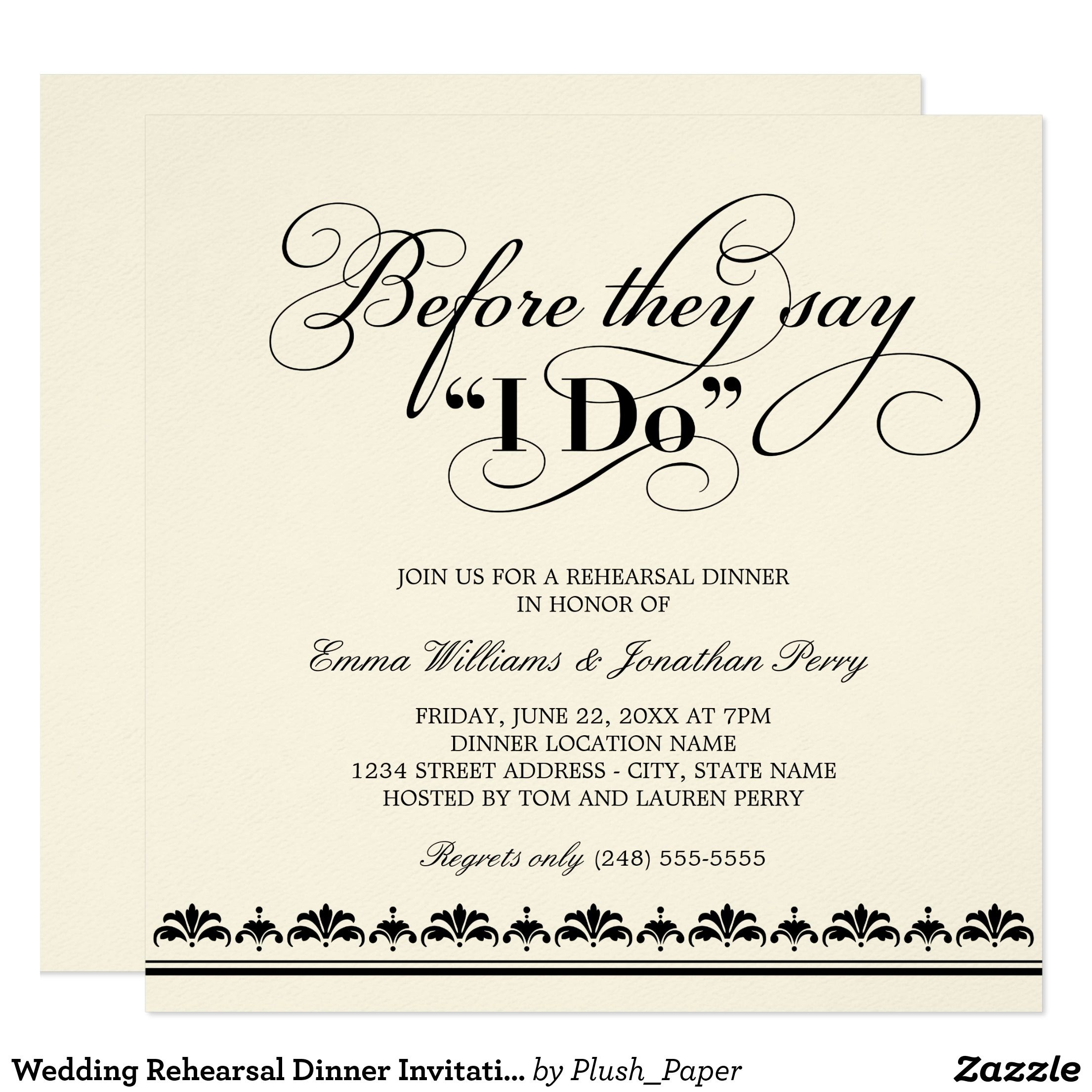 Before They Say I Do Black Vows Rehearsal Dinner Invitation Zazzle Com Couples Wedding Shower Invitations Couple Wedding Shower Rehearsal Dinner Invitations