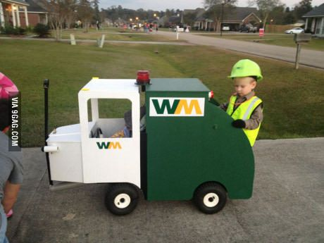 A kid in my neighborhood dressed up as a garbage man.