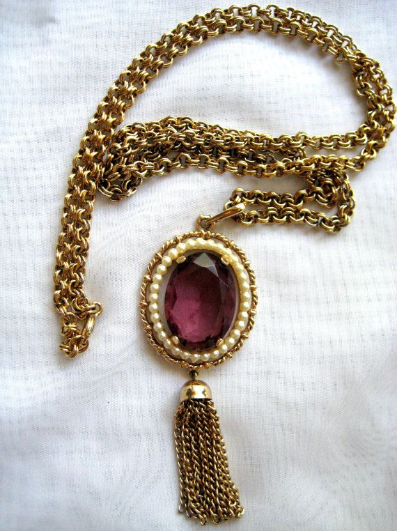 Vintage Avon Amethyst Purple Stone Pearl By Repurposedtreasure 16 00 Avon Jewelry Purple Pendants Vintage Avon