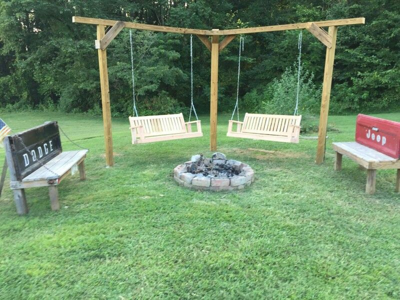 Double Swing And Tailgate Benches Around Our Fire Pit