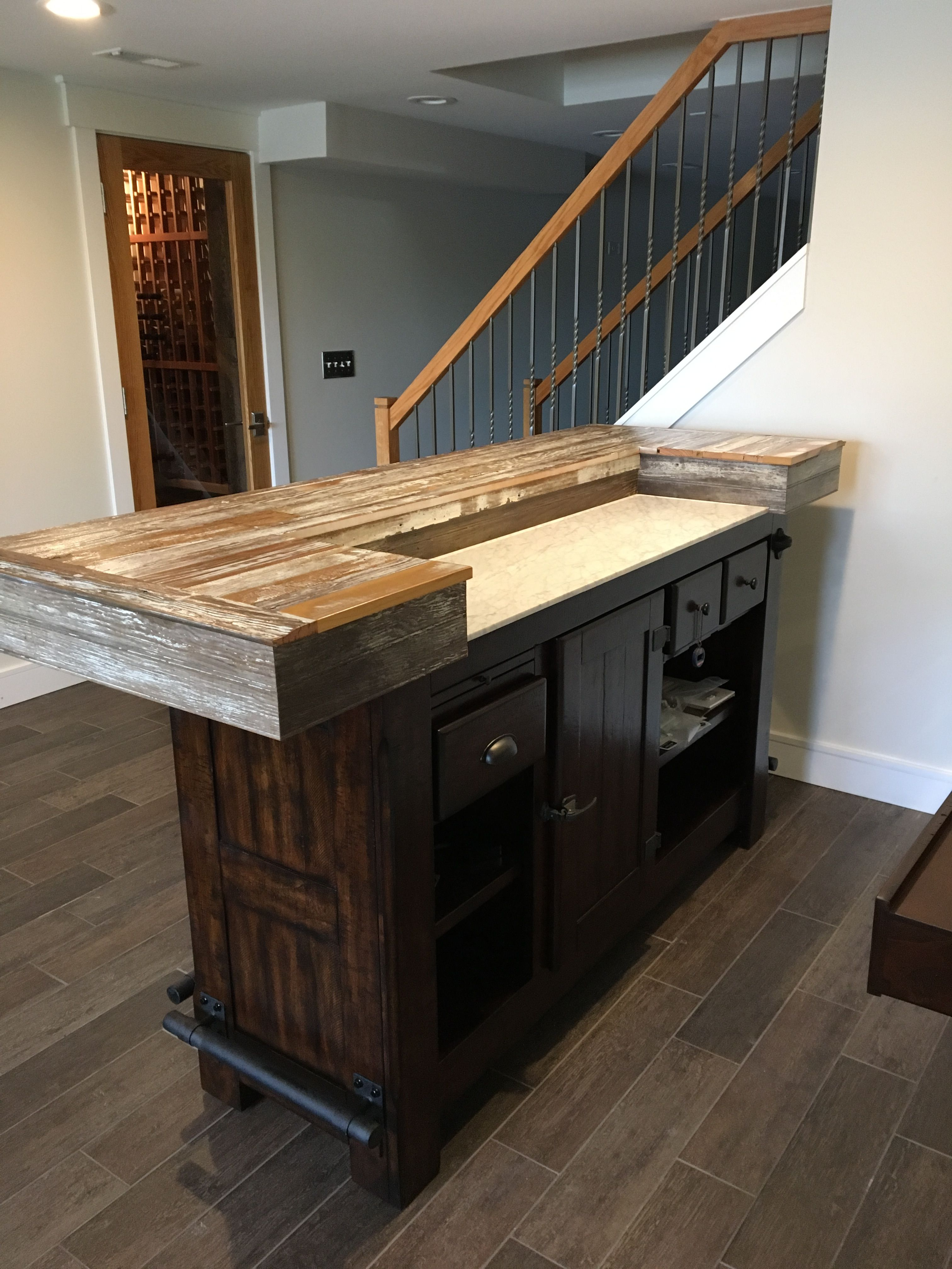 Free Standing Bar With Reclaimed Barn Bar Top Free Standing Bar