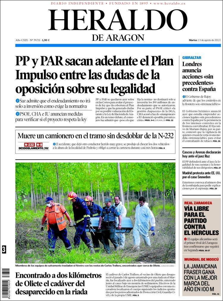 Los Titulares y Portadas de Noticias Destacadas Españolas del 13 de Agosto de 2013 del Diario Heraldo de Aragón ¿Que le pareció esta Portada de este Diario Español?